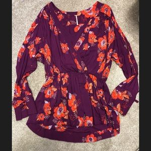 Free People long sleeve floral shirt